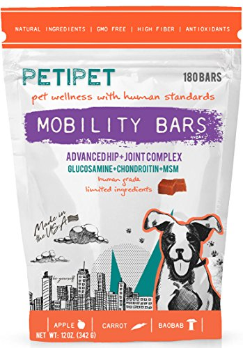PETIPET Mobility Bars Dog Treats | Advanced Hip & Joint Complex | Formulated with Glucosamine, Chondroitin, MSM | Human-Grade Ingredients | Made in The USA | 180 Count