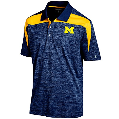 NCAA Michigan Wolverines Men's Boosted Stripe Color Blocked Polo, Small, Navy