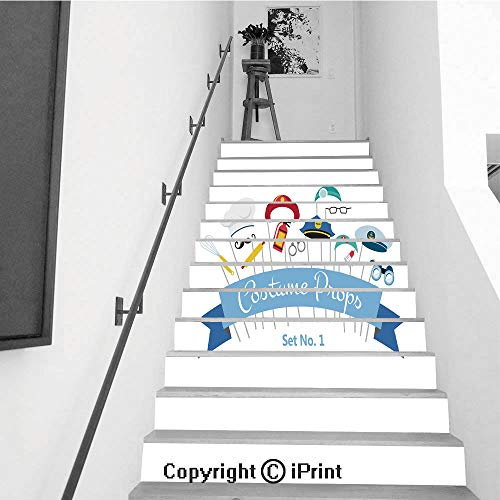 Self-Adhesive Stair Riser Decal - Stair Stickers Decals Wallpaper for Walls Kitchen Bathroom Stair Decals Home Decorations,13 PCS,Costume Party and Photo Booth Props Profession