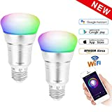 Smart WiFi Bulbs Belpink, 7W RGBW LED Bulbs, E27 Edison Screw Alloy Cooling lamp Holder,Works with Amazon Alexa Echo Remote Control by Smartphone,16 Million Colors Changing For Home light (Twin pack)