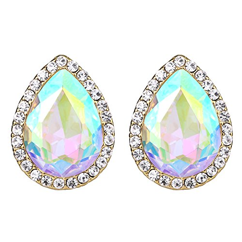 EVER FAITH Women's Austrian Crystal Wedding Teardrop Stud Earrings Iridescent Clear AB Gold-Tone Cube Swarovski Austrian Crystal