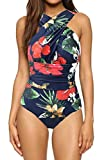 UNIMONG Women's Bathing Suit Front Criss Cross Ruched Backless One Piece Swimsuit Medium Flower