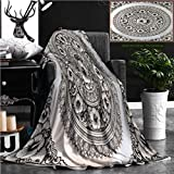 Unique Custom Flannel Blankets Silver Lacquer Show Flower Art Balance Global Crafts Thai Artists Place In Chiang Mai Thailand Super Soft Blanketry for Bed Couch, Twin Size 80'' x 60''