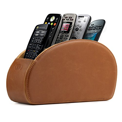 OTTO Leather Remote Controller Holder Organizer Store DVD Blu-ray TV Roku or Apple TV Remotes - Italian Genuine Leather with Suede Lining Living or Bedroom Storage (OTTO139)