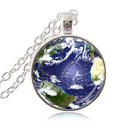 LUOR Trade Co.,Ltd Mother Earth Pendant Necklace Planet Jewelry Natural Earth Continents Art Picture Jewelry Solar System Galaxy Sweater Chain Necklace Handmade Jewellery (Silver ()