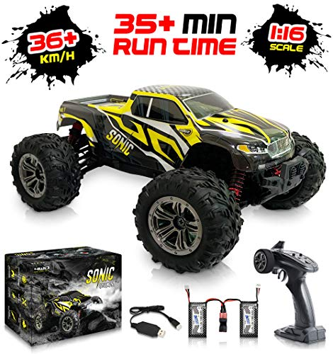 1:16 Scale Large RC Cars 36+ kmh Speed - Boys Remote Control Car 4x4 Off Road Monster Truck Electric - All Terrain Waterproof Toys Trucks for Kids and Adults - 2 Batteries + Connector for 30+ Min Play (Rc Trucks 4x4)