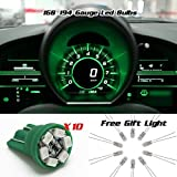 Partsam 10PCS T10 Wedge Instrument Panel LED Light Gauge Cluster Dashboard Indicator Bulbs, Green
