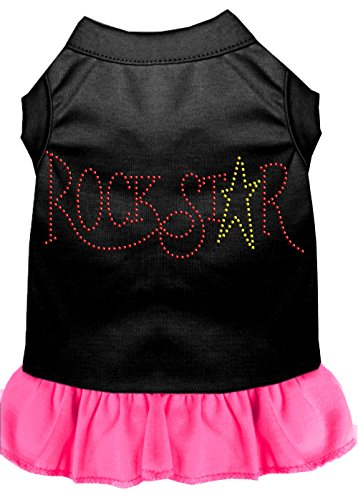 Mirage Pet Products 57-21 XLBPBPK Pink Rhinestone Rock Star Dress Black with Bright, (Rock Star Cat Costumes)