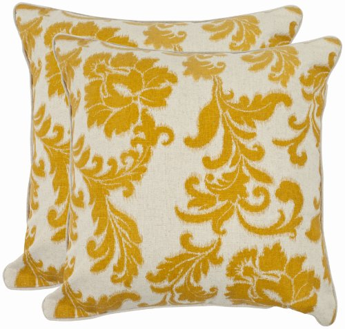 Safavieh Pillow Collection 18-Inch Acanthus Leaves Pillow, Ivory and Gold, Set of 2 - Acanthus Leaf