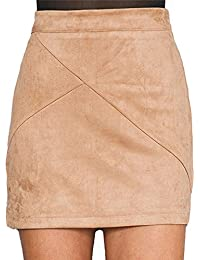 Women's High Waist Faux Suede Mini Short Bodycon Skirt