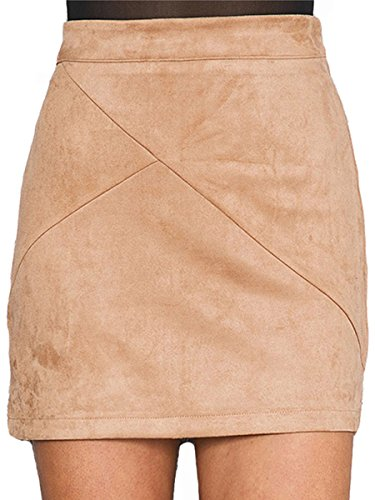 Tan Leather Womens Mini - Simplee Apparel Women's High Waist Faux Suede Mini Short Bodycon Skirt Camel,Size 4/6 (M)