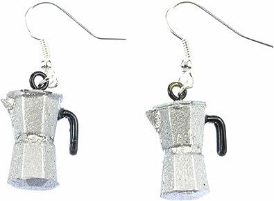 Jarra cafetera espresso pendientes Miniblings Cafe café moca de plata: Amazon.es: Joyería