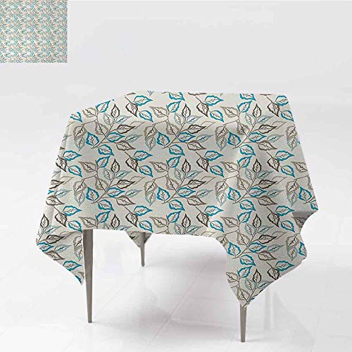 DILITECK Oil-Proof and Leak-Proof Tablecloth Leaves Botanic Foliage Leaves Pattern Garden Theme Nostalgic Autumn Motifs Great for Buffet Table W60 xL60 Warm Taupe Pale Blue - Leaf Rosette Copper
