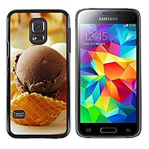 CASECO - Samsung Galaxy S5 Mini, SM-G800 - Chocolate Ice Crea - Delgado Negro Plástico caso cubierta Shell Armor Funda Case Cover - Chocolate Crea Hielo