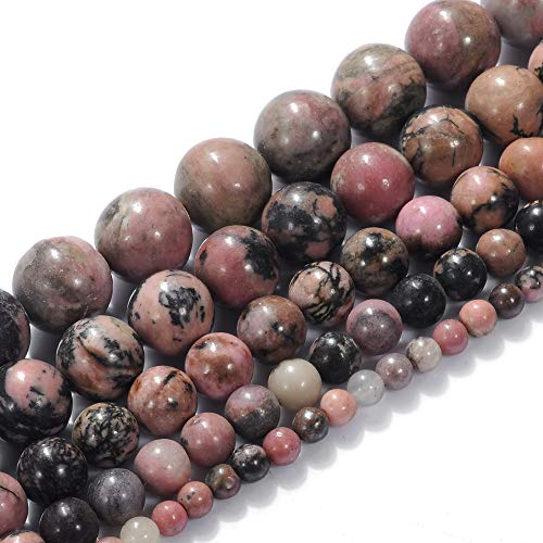 Natural Stone Beads 10mm Rhodonite Beads Gemstone Round Loose Beads Crystal Energy Stone Healing Power for Jewelry Making DIY,1 Strand 15""