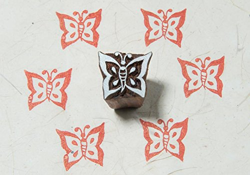 Butterfly Wooden Stamp (Blockwallah Tiny Butterfly Wooden Block Stamp)
