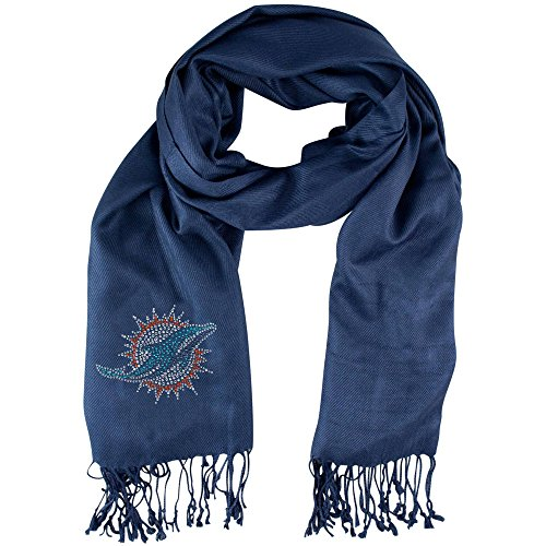 1 Piece NFL Dolphins Scarf 70 X 25 inches, Football Themed Woman Accessory Sports Patterned, Team Logo Fan Merchandise Athletic Team Spirit Fan White Orange Blue, Polyester by NI