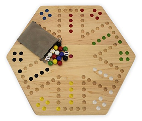 (Maple-Wood Hand-painted Double-sided Aggravation Game Board, 20