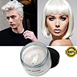 #5: MOFAJANG White Hair Color Wax, Temporary Hairstyle Cream 4.23 oz Hair Pomades, Natural White Hairstyle Wax for Party, Cosplay, Halloween, Date (White)