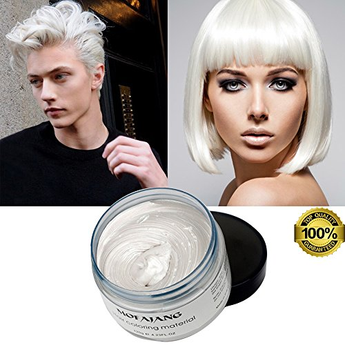 Mofajang White Hair Color Wax, Temporary Hairstyle Cream 4.23 oz Hair Pomades, Natural White Hairstyle Wax for Party, Cosplay, Halloween, Date (White) -