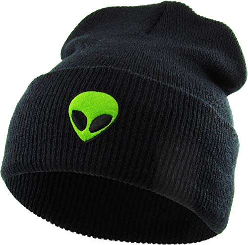 KBSW-E004 BLK Embroidered Beanie Winter Ski Hat Cuffed Skull Cap Knit