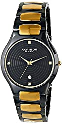 Akribos XXIV Women's AK516BKG Quartz Movement Watch with Black Dial and Yellow Gold and Black Ceramic  Bracelet