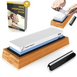 Premium Knife Sharpening Stone 2 Side Grit 1000/6000 Waterstone | Best Whetstone Sharpener | NonSlip Bamboo Base & Angle Guide