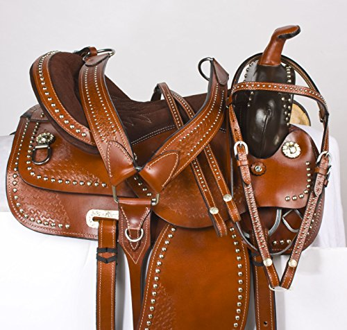 Leather Western Show Saddle (SILVER STUDDED BROWN LEATHER WESTERN PLEASURE SHOW PARADE HORSE SADDLE TACK 16 17 18 (16