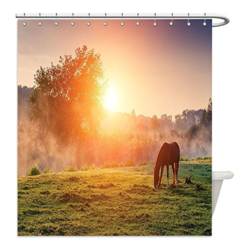 Liguo88 Custom Waterproof Bathroom Shower Curtain Polyester Farmhouse Decor Collection Arabian Horses Grazing on Pasture at Sundown in Sunbeams Carpathians Ukraine Europe Image Green Decorative bathr by liguo88