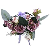 Flower Crown Headband Floral headpiece - New Bohemian Ribbon Adjust Flower Hairbands Party Wedding Hair Wreaths (Purple)