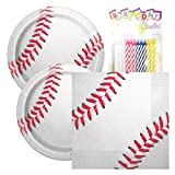 Baseball Themed Birthday Party Napkins and Plates (Serves 32)