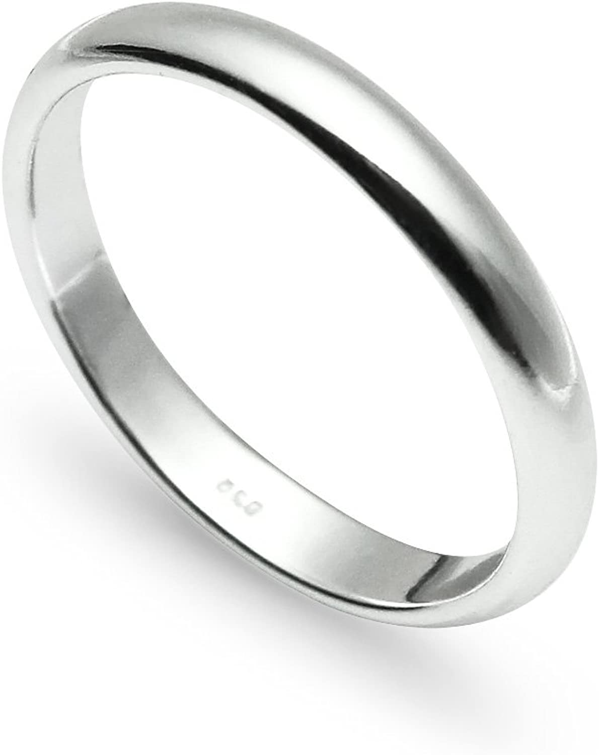Nine2Five 925 Sterling Silver Wedding Ring | High Polished Plain 3mm Comfort Band | Full & Half Sizes 5-14