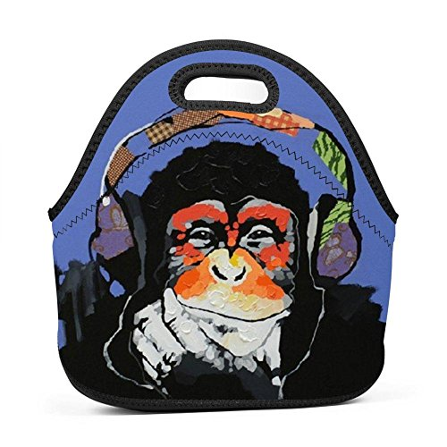 Family Dream Cool Chimpanzee Enjoy Music Lunch Bag Portable Tote Bento Pouch Lunchbox Baby Bag Multi-purpose Zipper Satchel for Student Worker Travel Mummy Storage Bag (Oil Pouches Easy Pop)