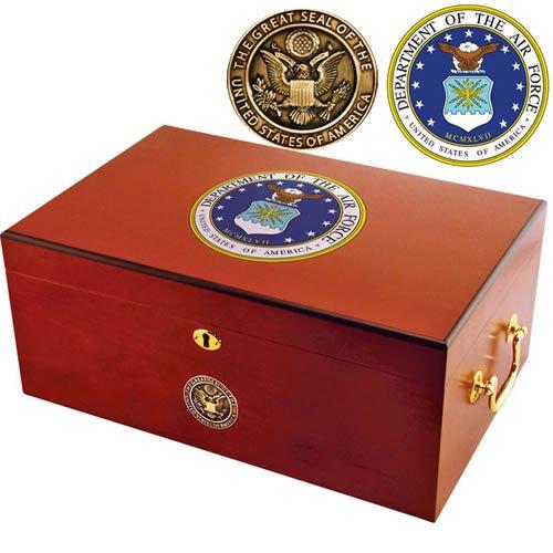 $85.95 cuban crafters humidor Cuban Crafters Air Force Humidor by American Emblems – 50 Cigars – (12 x 9 3/4 x 5 5/8) 2019