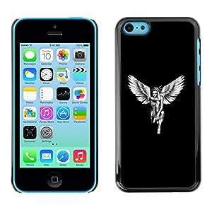 KOKO CASE / Apple Iphone 5C / angel white black art woman naked wings / Slim Black Plastic Case Cover Shell Armor
