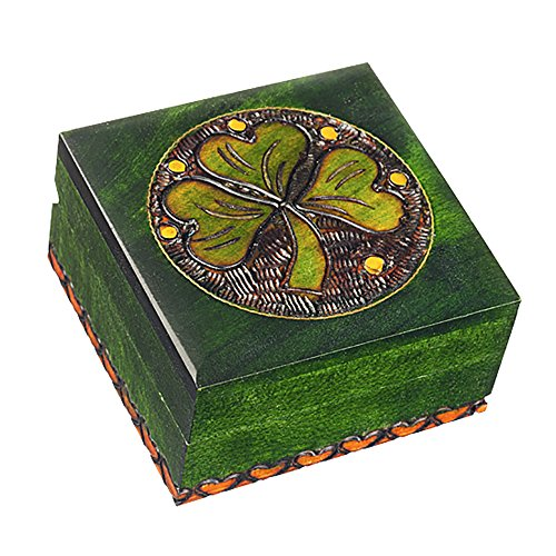 Wooden Shamrock Box Polish Handmade Linden Wood Keepsake Jewelry Cufflink Ring Box