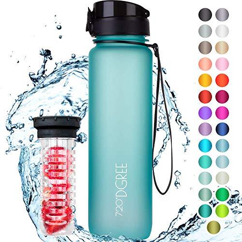 "720°DGREE ""uberBottle"" | Leakproof Water Bottle 1 Liter, 1l, 1000ml | Yoga, Sports, Hiking, Biking, Travelling | Blue"