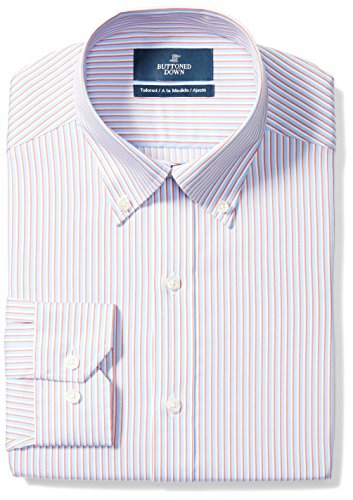 Shirt Stripe Dress (BUTTONED DOWN Men's Tailored Fit Button-Collar Pattern Non-Iron Dress Shirt, Orange/Blue Stripe, 18.5