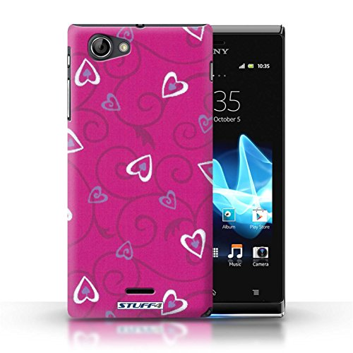 Etui / Coque pour Sony Xperia J (ST26i) / Rose/Violet conception / Collection de Coeur Vigne Motif