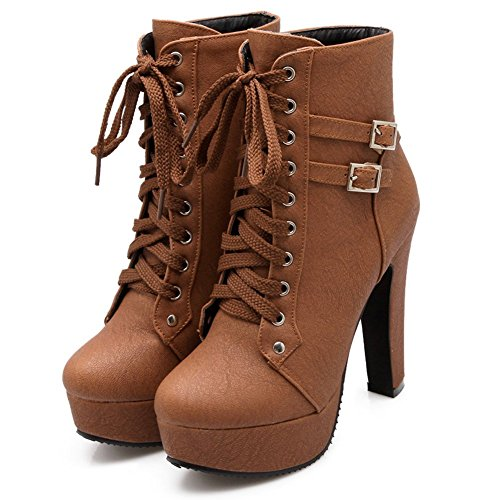 Pointed Lace Up Stiletto Brown toe Women Ankle Buckle Heeled Odema Boots Martin ZwR5x