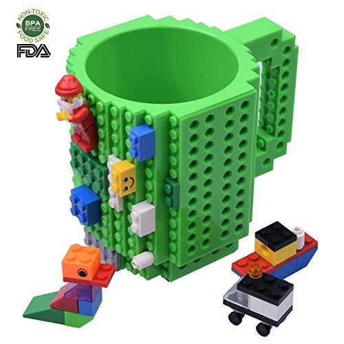 KYONNE Creative DIY Build-on Brick Mug, Lego Style Coffee Mugs, Birthday Gift Toy Cup for Men, Boy and Girl, Christmas Gift Idea (Green)
