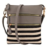 JIARUO Small Stripe Canvas patchwork leahter Women Crossbody bag handbag shoulder bag (Grey)