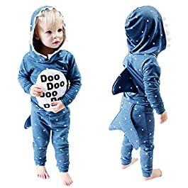 Boys Girls Shark Baby Romper Hoodie + Pant Set Jumper Sweatshirts Top Baby Kids Jacket Long Sleeve Jumpsuit Toddler Clothes 18 Months – 5 Years