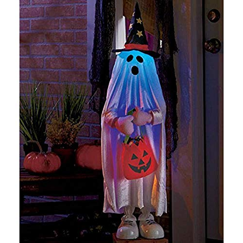KNL Store Halloween Treater Pumpkin Kid Jack O Lantern Candy Bag Witch Hat Greeters Haunted House Decor(Ghost)