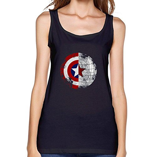 ZhiBo Half Friend Half Mission Star Shield for America Capatain for Bucky Designed Tank top for Women Black Small ()