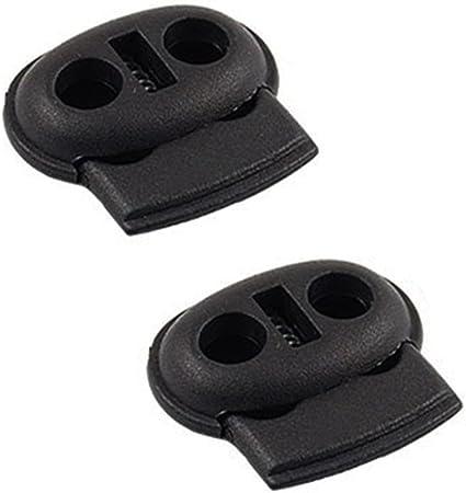 Click Down 1Pcs Dual Double Hole Black Bean Drawstring Cord Locks Stopper Fastener Slider Toggles