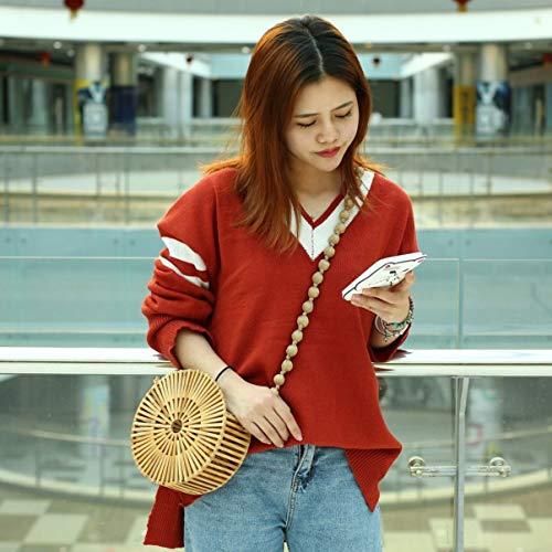 couleur de bambou en femmes Sac de en bandoulière en en pour bandoulière cuir mode unie Sac waF7XqWAtx