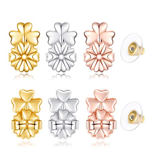 Amzonbasics - Magic Earring Lifters, Earring Backs for Droopy Ears Heavy Ear Lobe Support (3 Pairs Sterling Silver Earring Lifts + 1 Pairs Earring Backs, Clover)