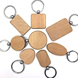 Kimter DIY Blank Wooden Key Chain Personalized EDC Wood Keychains Best Gift Mix 8 Styles Pack Of 8pcs