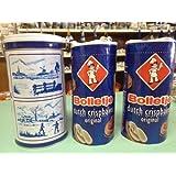 Bolletje Beschuit Original/Regular in DELFT BLUE Landscape TIN (Dutch Crispbakes/Dutch Rusk/Light Crisp Toast) 3 Roll with 1 delft blue tin ea 125gram 4.4oz